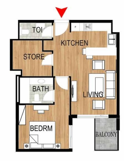 Planning of the apartment 1BR, 768 in Pantheon Elysee, Dubai