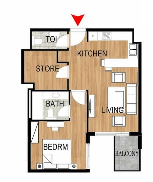 Planning of the apartment 1BR, 709.77 in Pantheon Elysee, Dubai