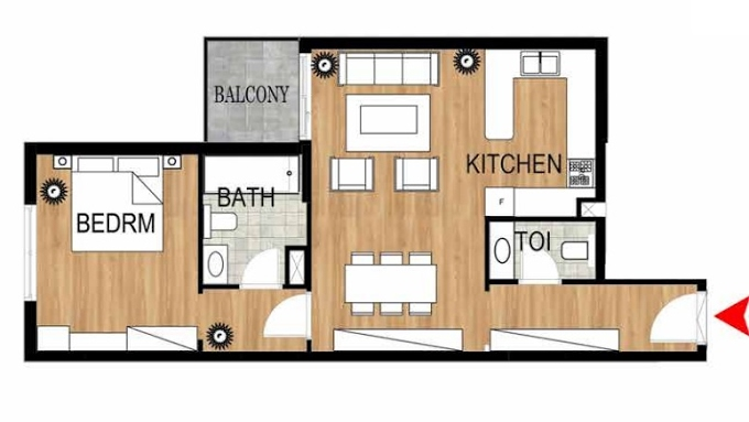 Planning of the apartment 1BR, 782.75 in Pantheon Elysee, Dubai