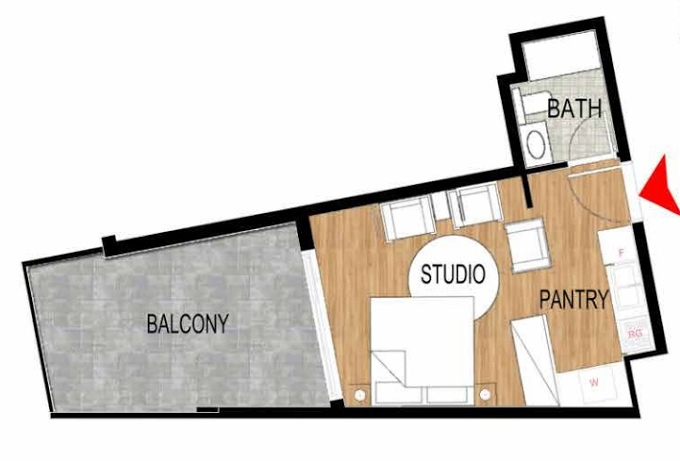 Planning of the apartment Studios, 484.91 in Pantheon Elysee, Dubai