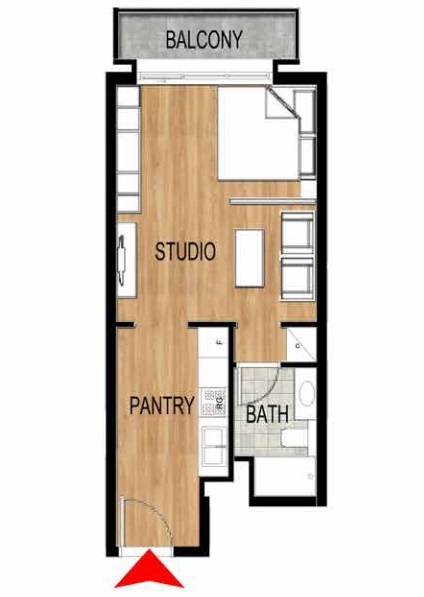 Planning of the apartment Studios, 404.82 in Pantheon Elysee, Dubai