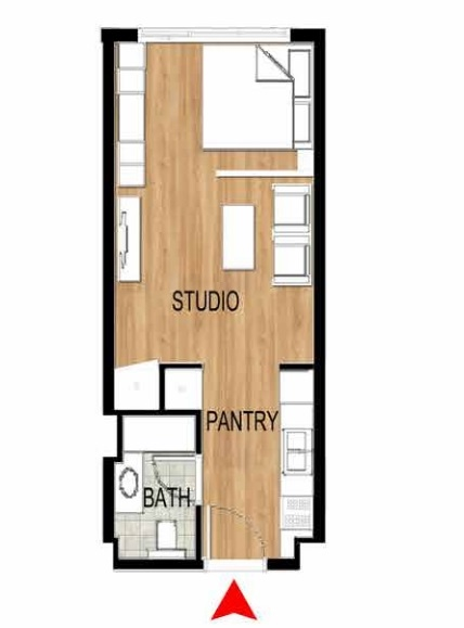 Planning of the apartment Studios, 389.33 in Pantheon Elysee, Dubai