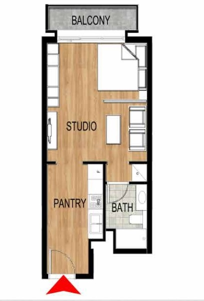 Planning of the apartment Studios, 424.53 in Pantheon Elysee, Dubai