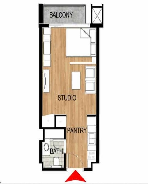 Planning of the apartment Studios, 424.21 in Pantheon Elysee, Dubai