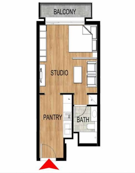 Planning of the apartment Studios, 432.39 in Pantheon Elysee, Dubai