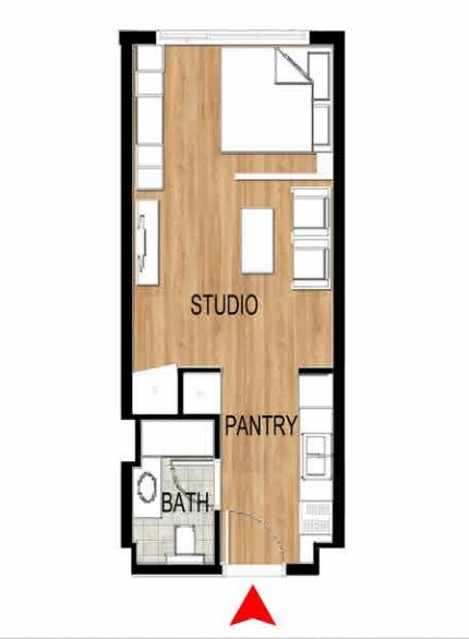 Planning of the apartment Studios, 390.73 in Pantheon Elysee, Dubai