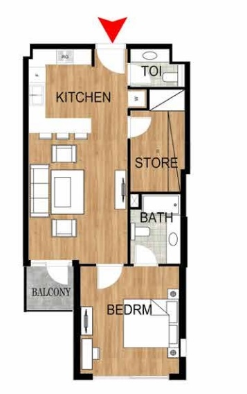 Planning of the apartment 1BR, 745.29 in Pantheon Elysee, Dubai