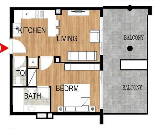 Planning of the apartment 1BR, 799.11 in Pantheon Elysee, Dubai