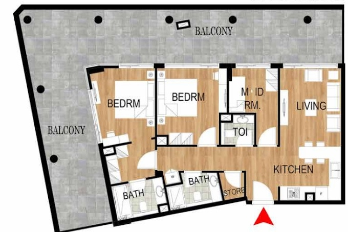 Planning of the apartment 2BR, 1696.28 in Pantheon Elysee, Dubai