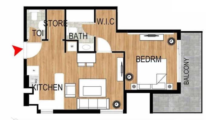 Planning of the apartment 1BR, 702.67 in Pantheon Elysee, Dubai