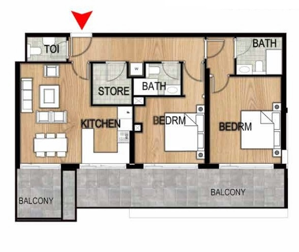 Planning of the apartment 2BR, 1262.9 in Pantheon Elysee, Dubai