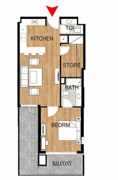 Planning of the apartment 1BR, 912.28 in Pantheon Elysee, Dubai