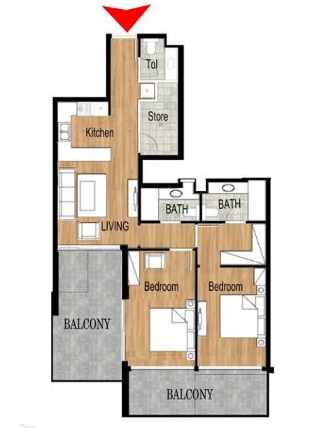 Planning of the apartment 2BR, 1267.2 in Pantheon Elysee, Dubai