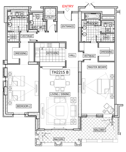 Planning of the apartment 2BR, 2356 in Balqis Residence Apartments, Townhouses and Villas, Dubai