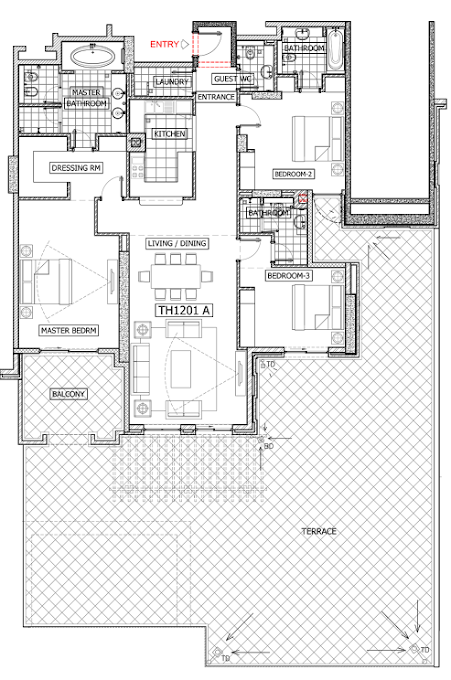 Planning of the apartment 3BR, 4361 in Balqis Residence Apartments, Townhouses and Villas, Dubai