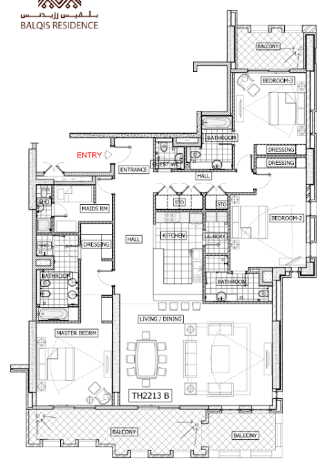 Planning of the apartment 3BR, 3120 in Balqis Residence Apartments, Townhouses and Villas, Dubai