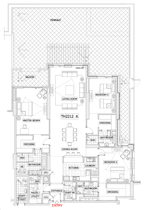 Planning of the apartment 3BR, 4483 in Balqis Residence Apartments, Townhouses and Villas, Dubai