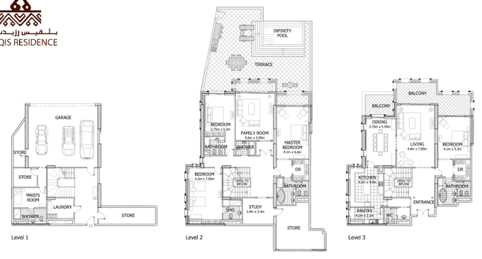 Planning of the apartment Townhouses 4BR, 8823 in Balqis Residence Apartments, Townhouses and Villas, Dubai