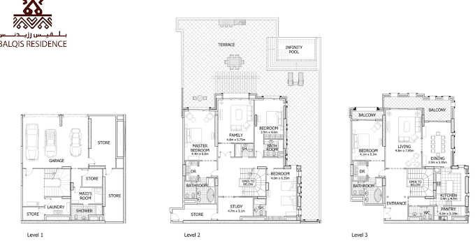 Planning of the apartment Townhouses 4BR, 10017 in Balqis Residence Apartments, Townhouses and Villas, Dubai