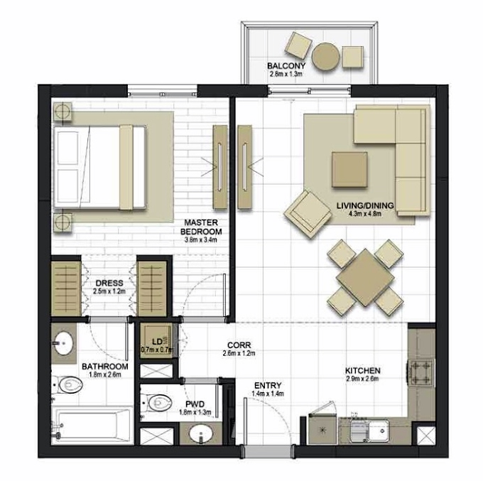 Planning of the apartment 1BR, 744.7 in Maryam Gate Residences, Sharjah