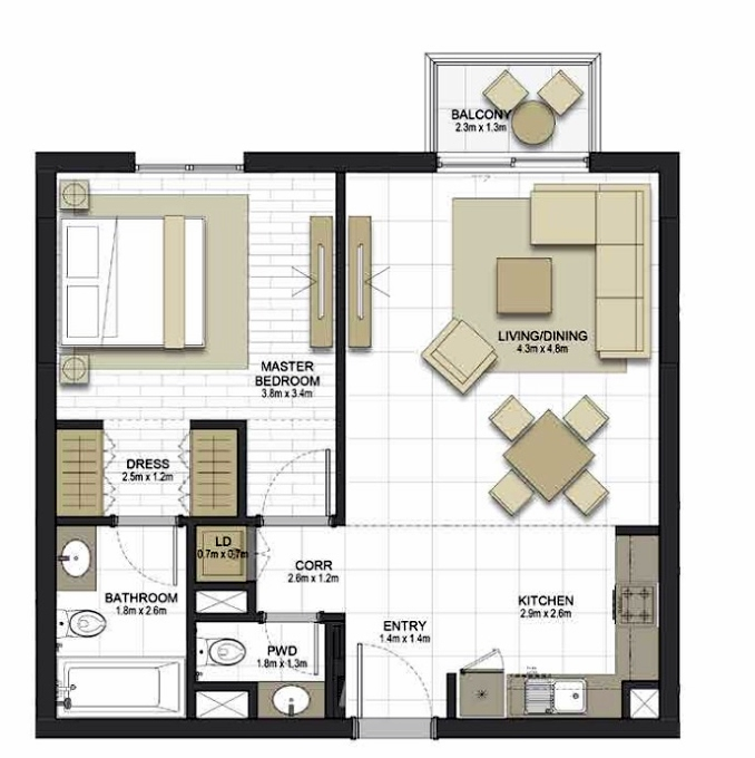 Planning of the apartment 1BR, 741 in Maryam Gate Residences, Sharjah
