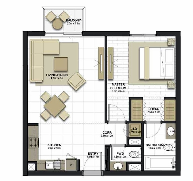 Planning of the apartment 1BR, 753.2 in Maryam Gate Residences, Sharjah