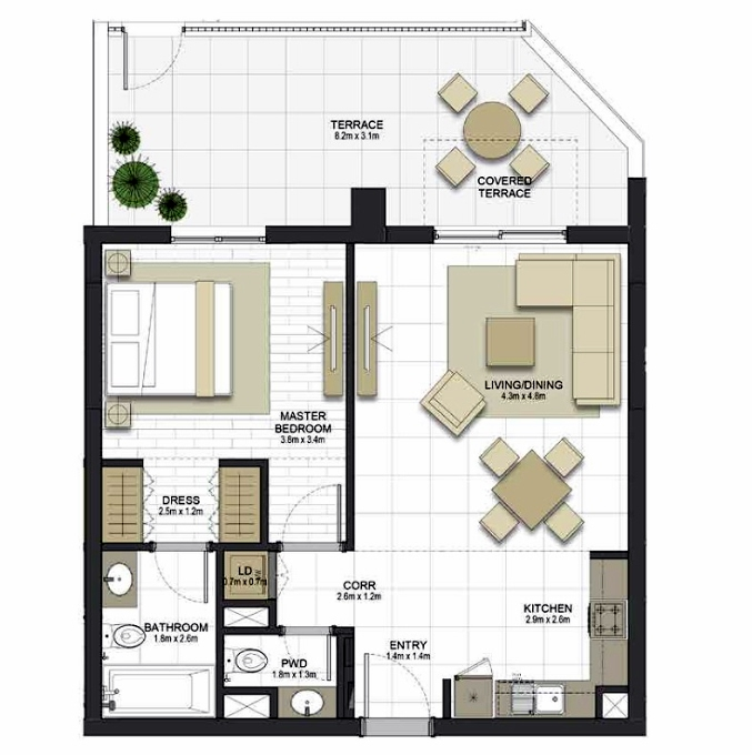 Planning of the apartment 1BR, 741.1 in Maryam Gate Residences, Sharjah