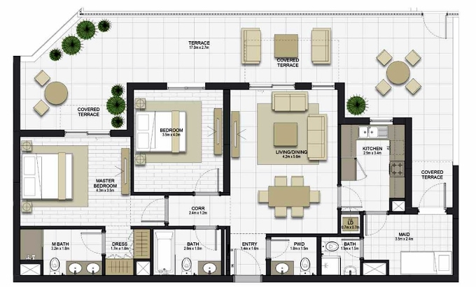 Planning of the apartment 2BR, 1222.2 in Maryam Gate Residences, Sharjah