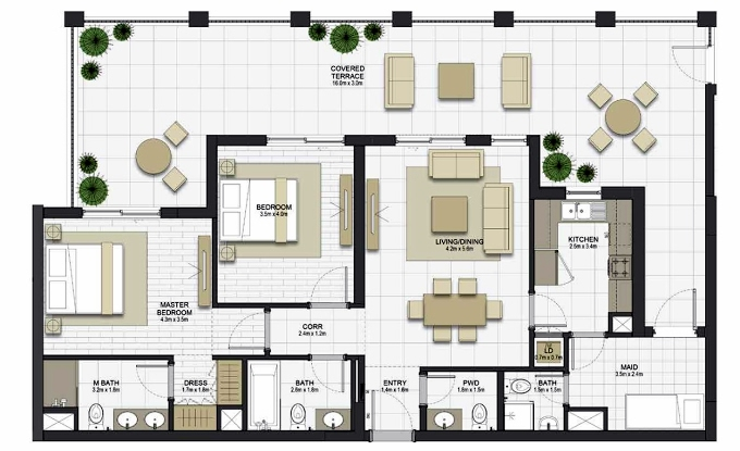 Planning of the apartment 2BR, 1234.5 in Maryam Gate Residences, Sharjah