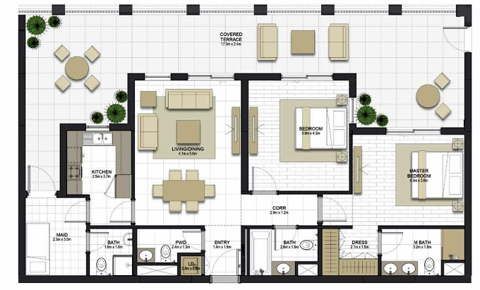 Planning of the apartment 2BR, 1259.5 in Maryam Gate Residences, Sharjah