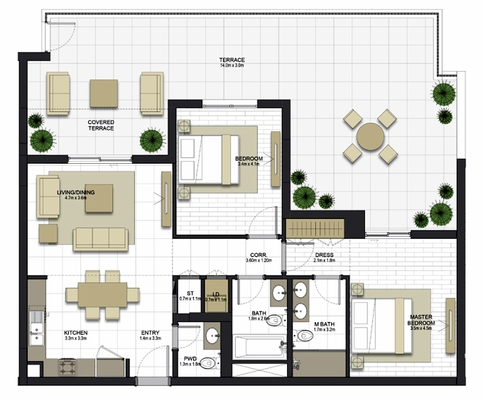 Planning of the apartment 2BR, 1121 in Maryam Gate Residences, Sharjah