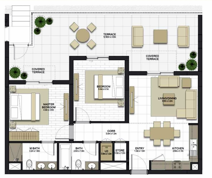 Planning of the apartment 2BR, 959.8 in Maryam Gate Residences, Sharjah
