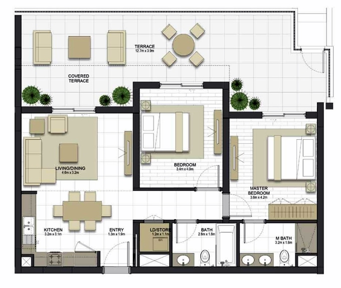 Planning of the apartment 2BR, 960.4 in Maryam Gate Residences, Sharjah