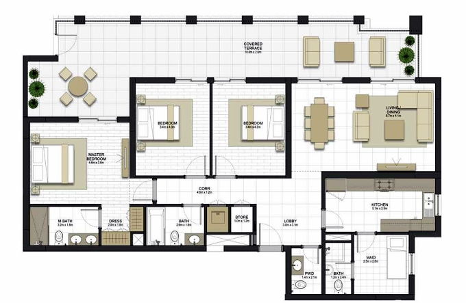 Planning of the apartment 3BR, 1721.7 in Maryam Gate Residences, Sharjah