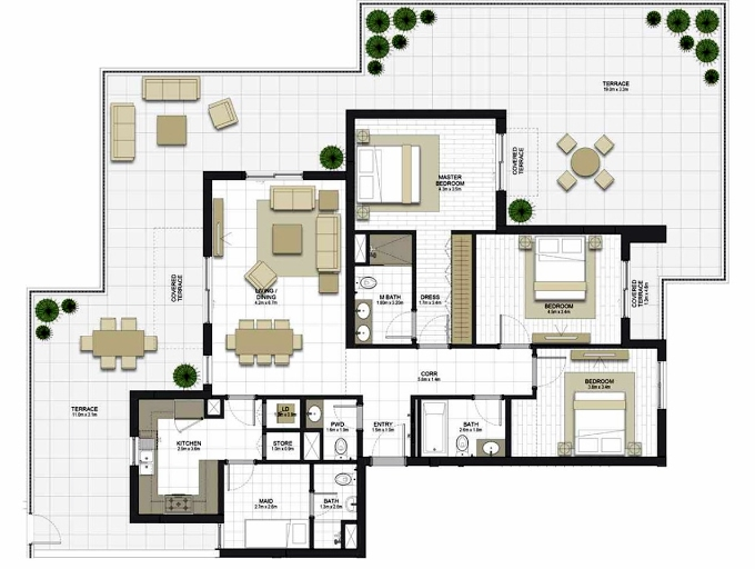 Planning of the apartment 3BR, 1646.3 in Maryam Gate Residences, Sharjah