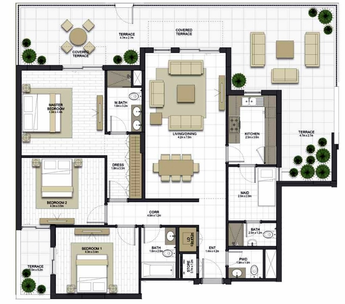 Planning of the apartment 3BR, 1685.3 in Maryam Gate Residences, Sharjah