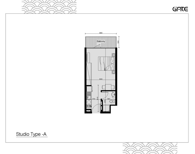 Planning of the apartment Studios, 335 in The Gate Residence, Abu Dhabi