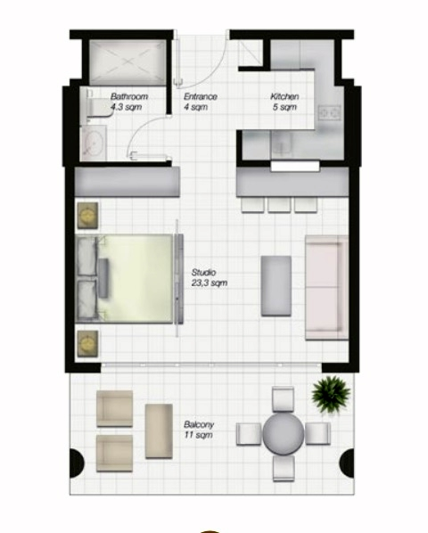 Planning of the apartment Studios, 614 in Al Mahra Residence, Abu Dhabi