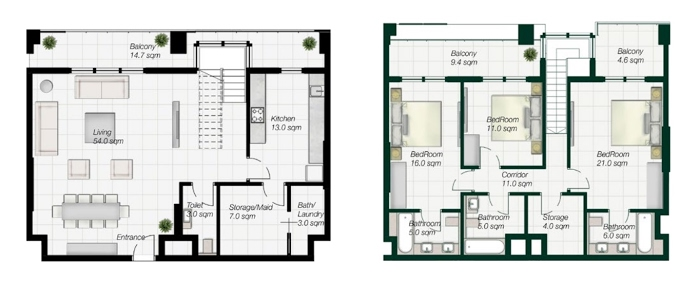 Planning of the apartment Duplexes, 2134 in Al Mahra Residence, Abu Dhabi
