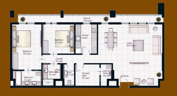 Planning of the apartment 2BR, 1611 in Al Mahra Residence, Abu Dhabi