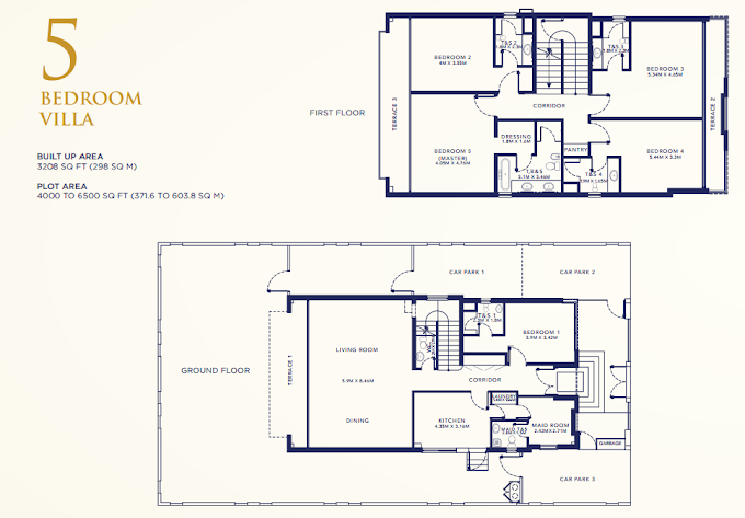 Planning of the apartment Villas 5BR, 3208 in Falcon City of Wonders Eastern Residences, Dubai