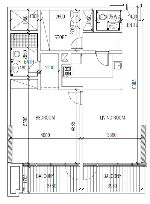 Planning of the apartment 1BR, 1033 in Chaimaa Premiere, Dubai