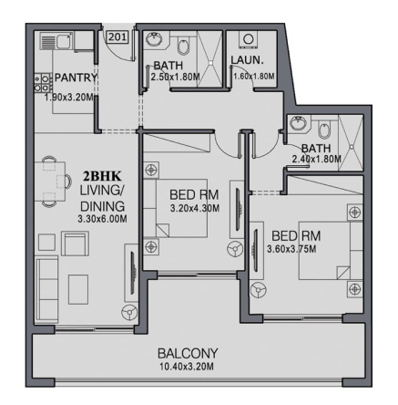 Planning of the apartment 2BR, 1163 in The Wings, Dubai