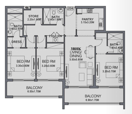 Planning of the apartment 3BR, 1510 in The Wings, Dubai