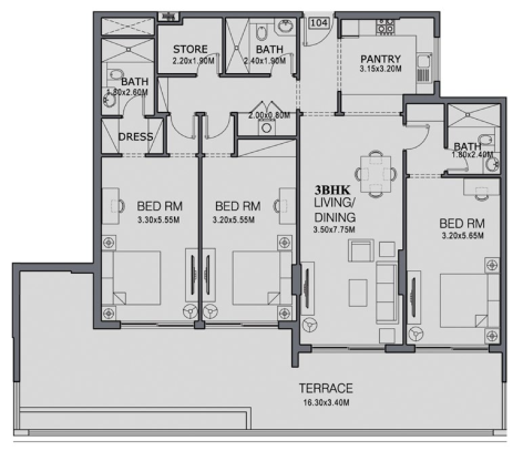 Planning of the apartment 3BR, 2163 in The Wings, Dubai