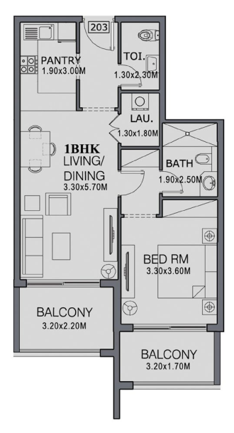 Planning of the apartment 1BR, 713 in The Wings, Dubai