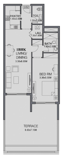 Planning of the apartment 1BR, 889 in The Wings, Dubai