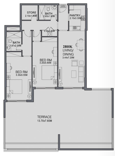 Planning of the apartment 2BR, 2285 in The Wings, Dubai
