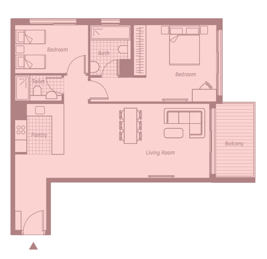 Planning of the apartment 1BR, 974 in East 40, Dubai