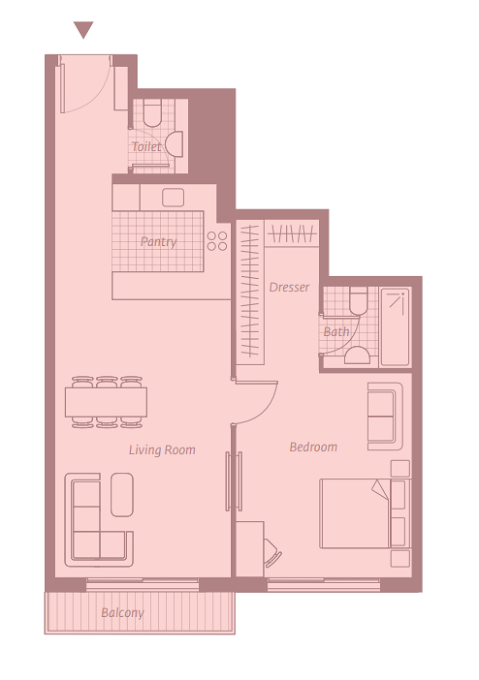 Planning of the apartment 1BR, 788.34 in East 40, Dubai